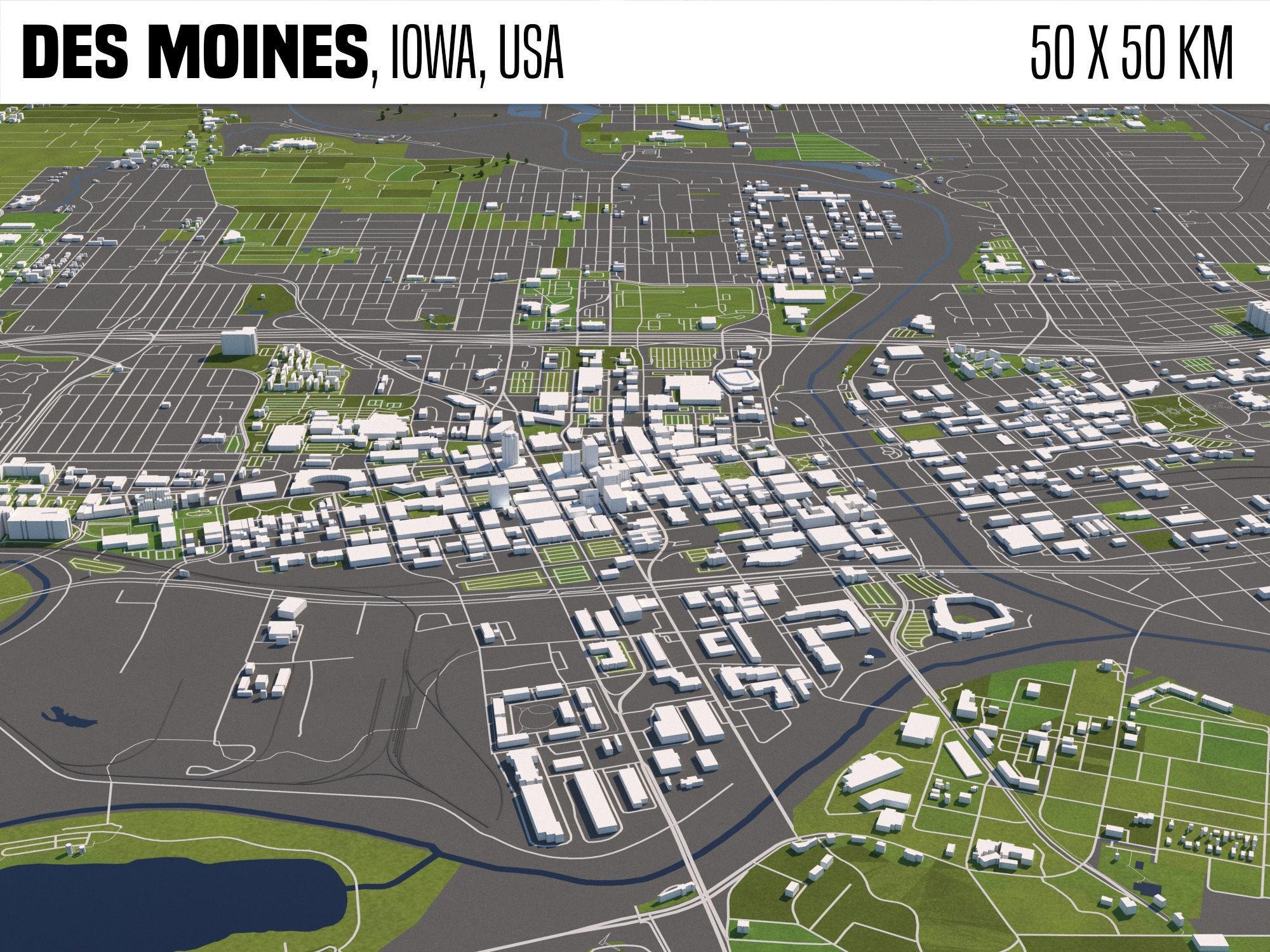 De Moines Iowa USA 50x50km