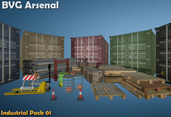 industrial package - hq 3d model low-poly fbx ma mb 1