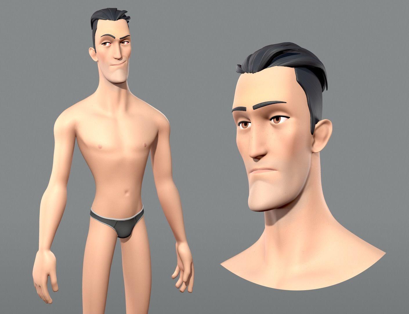 Cartoon male character Edward base mesh