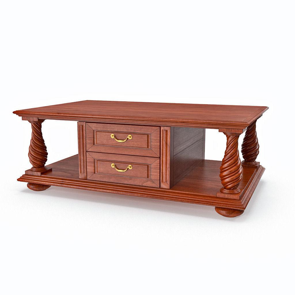 ... Wooden Classic Coffee Table Drawers 3d Model Max Obj Fbx Mtl ...