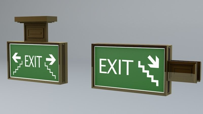 Building Emergency Exit Signs