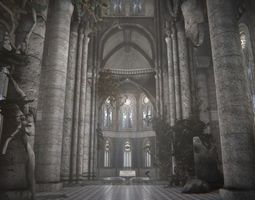 old gothic castle 3d model low-poly fbx blend