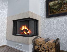 3d model fireplace corner