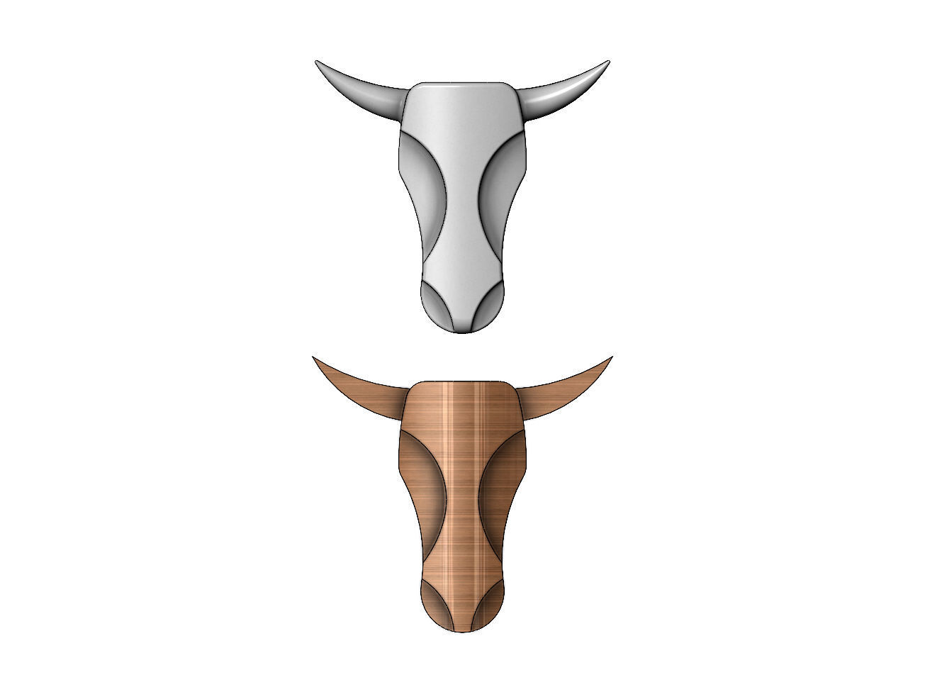 Minimalist Bull head relief for plaster and woodworking