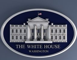 3d white house sign