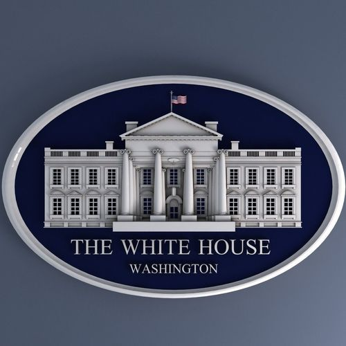 white house sign 3d model max obj mtl 3ds fbx stl 1