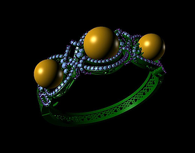 3D printable model bracelet triple pear white