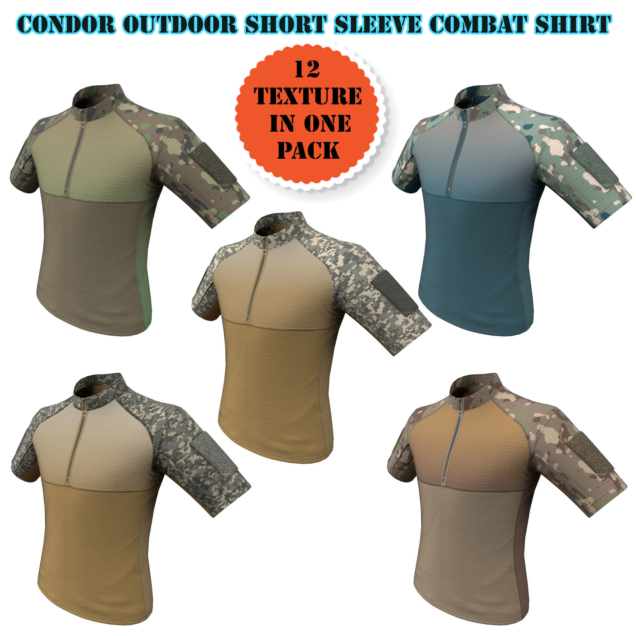 Condor Outdoor Short Sleeve Combat Shirt Low Poly PBR low