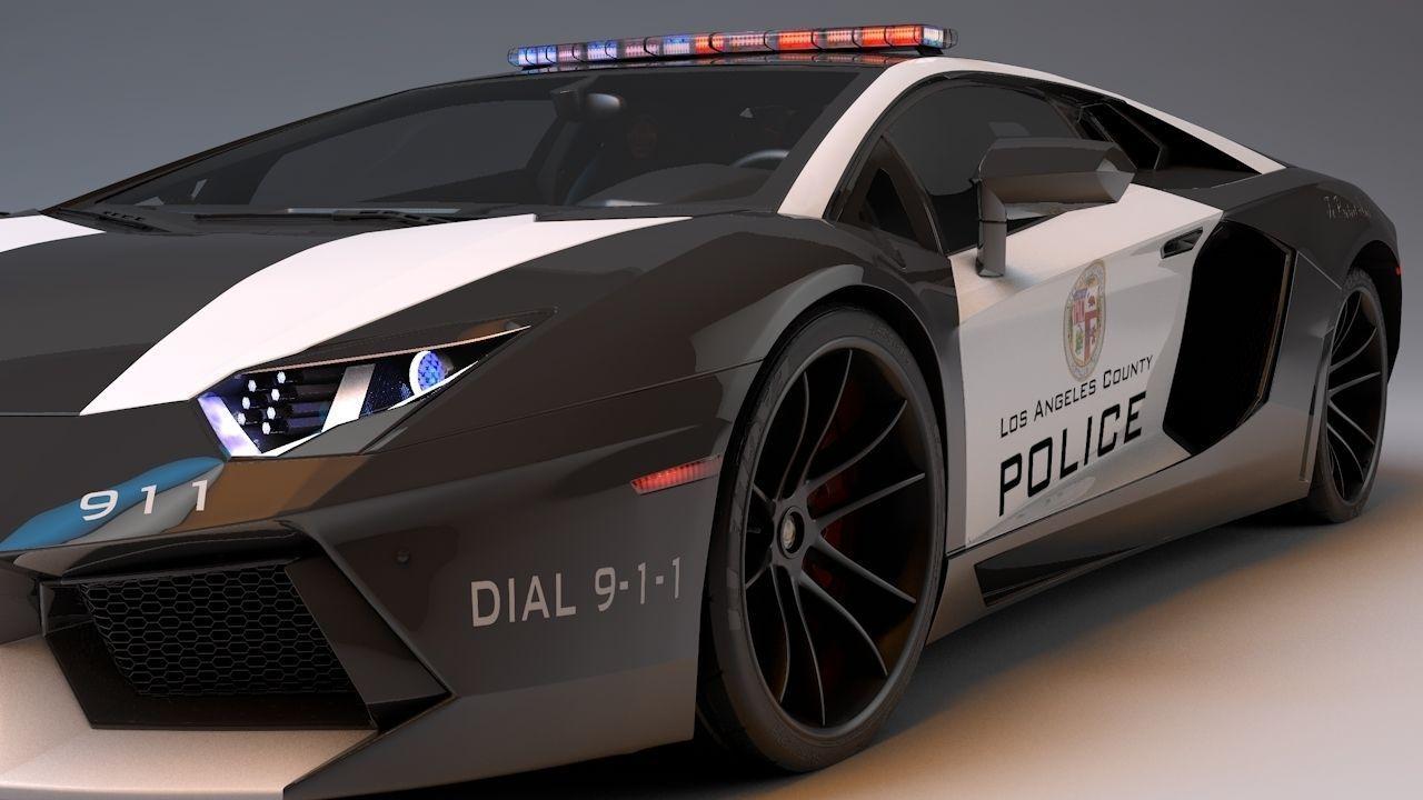 ... Lamborghini Aventador La Police 3d Model Max Obj 3ds Fbx C4d Dae 9 ...