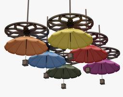 Colorful Umbrella Lamp Set 3D asset