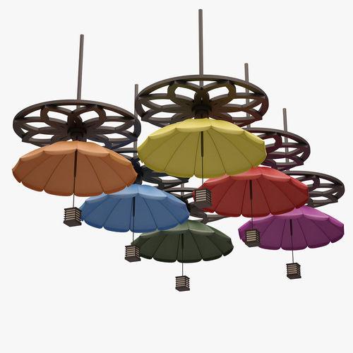 colorful umbrella lamp set 3d model max obj fbx mtl 1