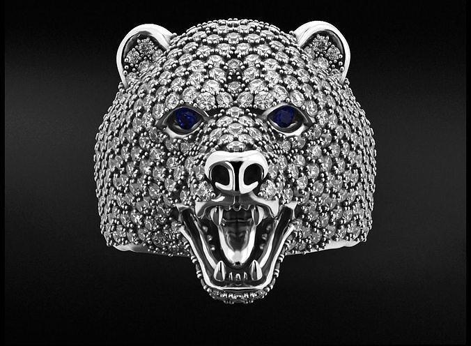 Stylish bear ring with diamonds 524