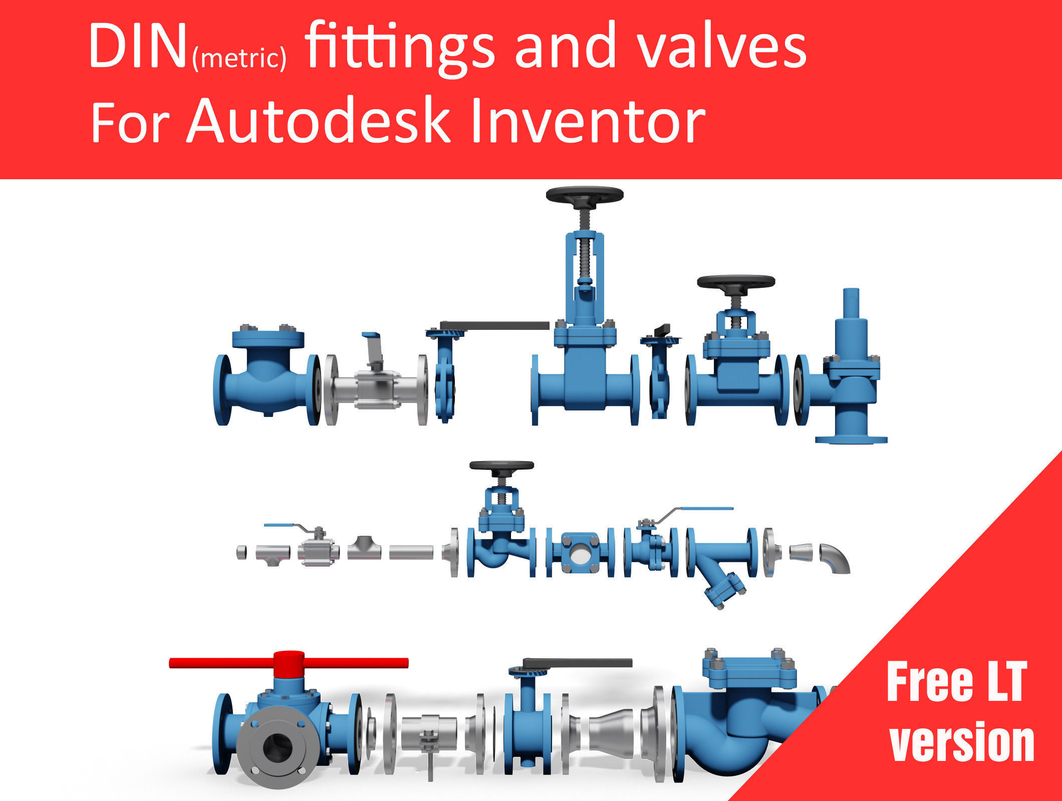 Autodesk Inventor CAD library - Piping No 2 LT free 3D model