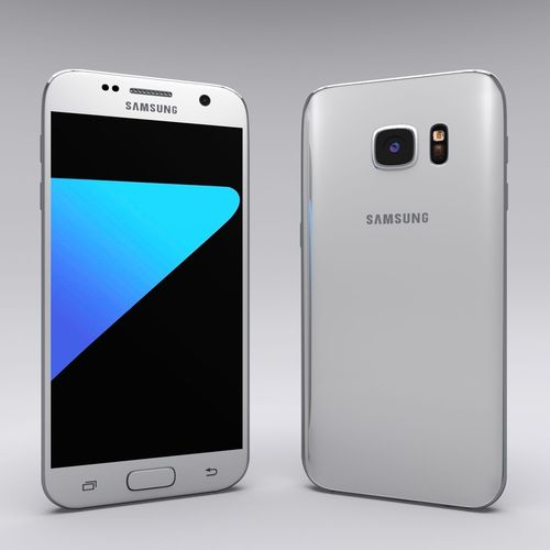 white samsung galaxy phones. samsung galaxy s7 white vr / ar low-poly 3d model phones