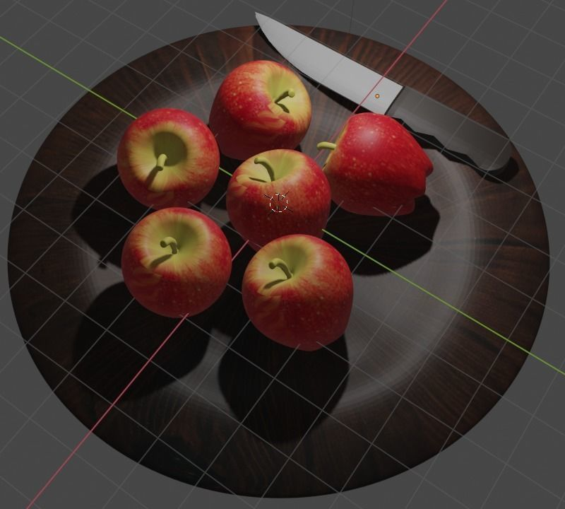 Apple fruit with knife and plate