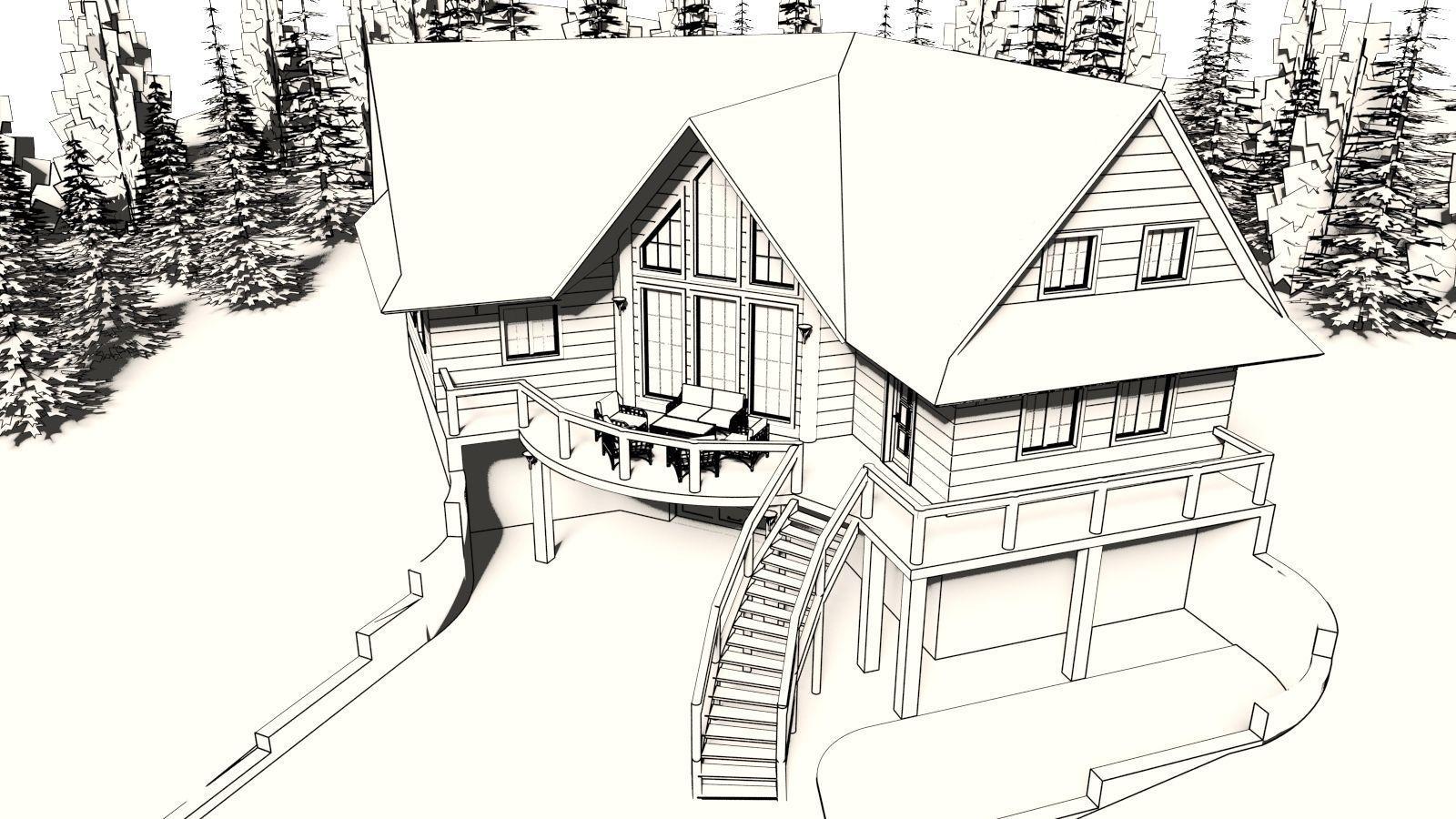 Log House With Garage 3d Model Obj 3ds Stl Skp