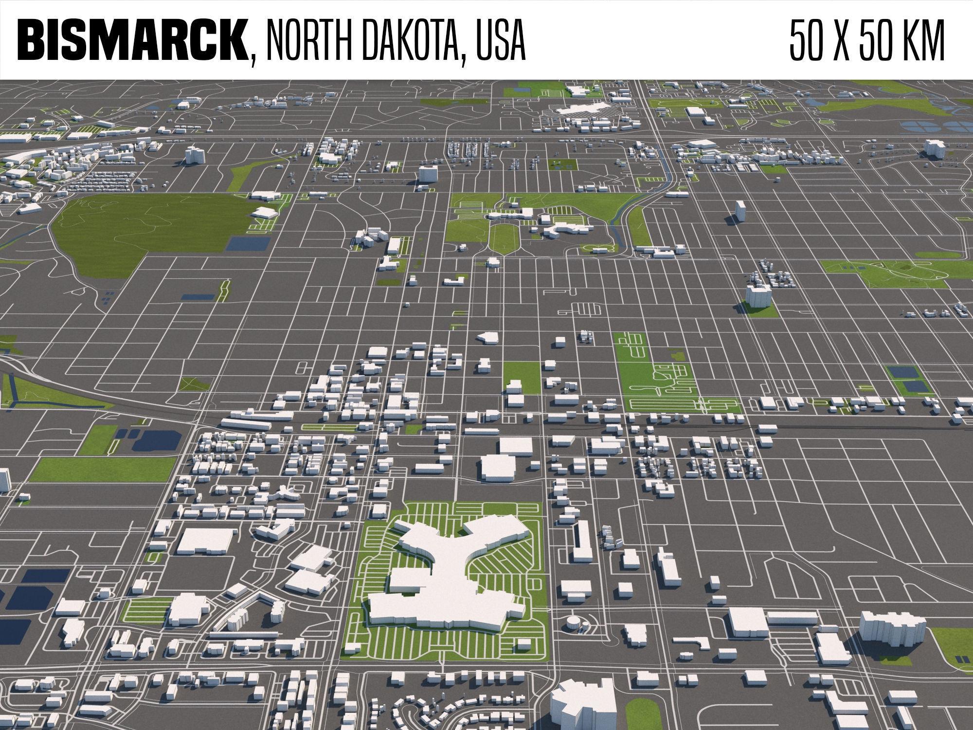 Bismarck North Dakota USA 50x50km