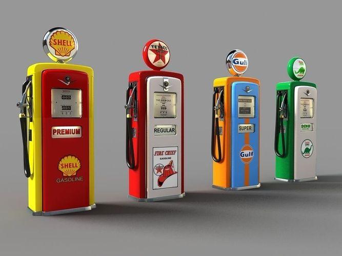 old gas pumps 3d model max stl dwg 1