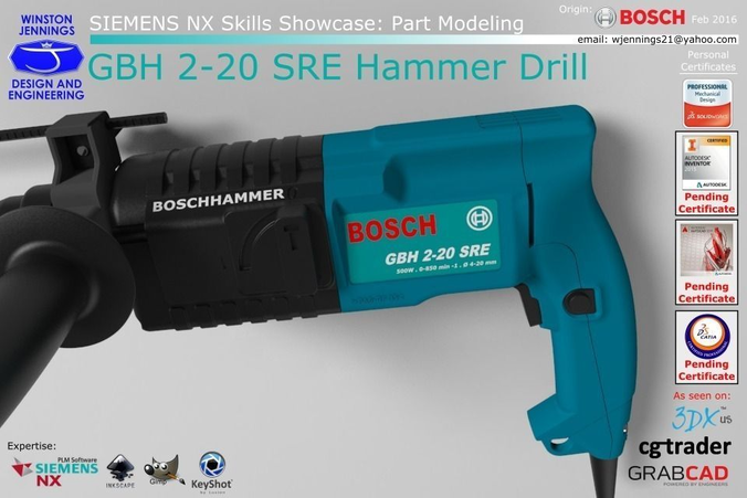3d bosch gbh 2 20 sre hammer drill cgtrader. Black Bedroom Furniture Sets. Home Design Ideas