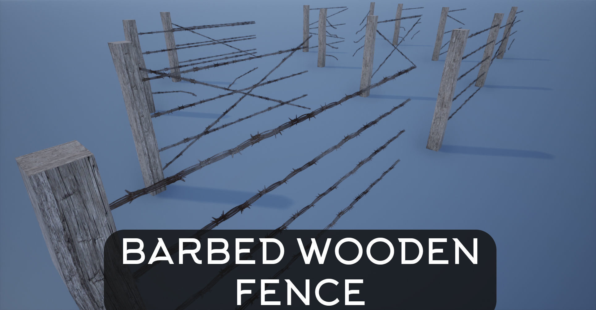 Lowpoly Modular Barbed Wooden Fence