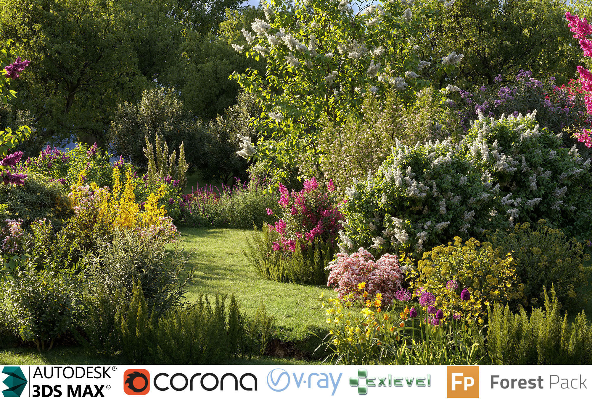 Garden shrub flowers Collection- Include GrowFX and Mesh file