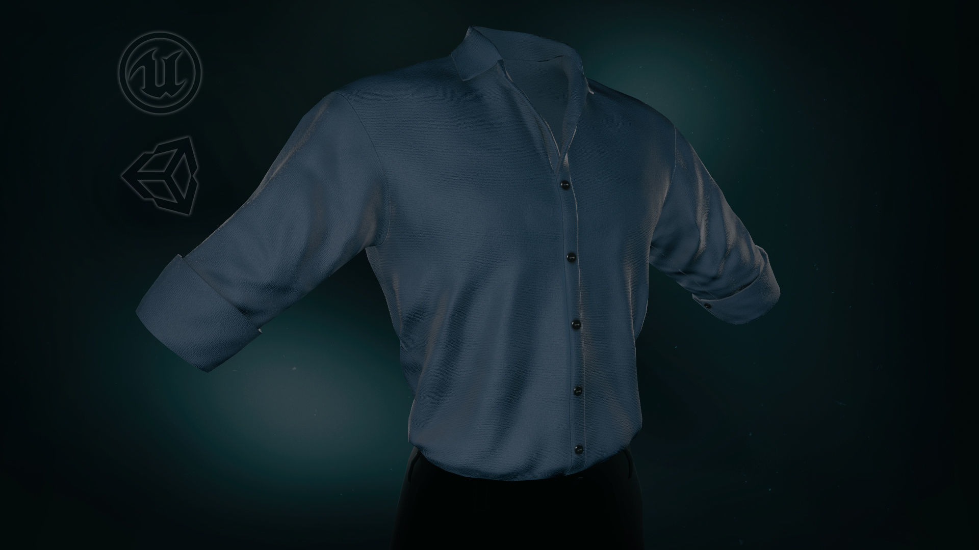 Blue Suit Shirt Rolled Sleeve