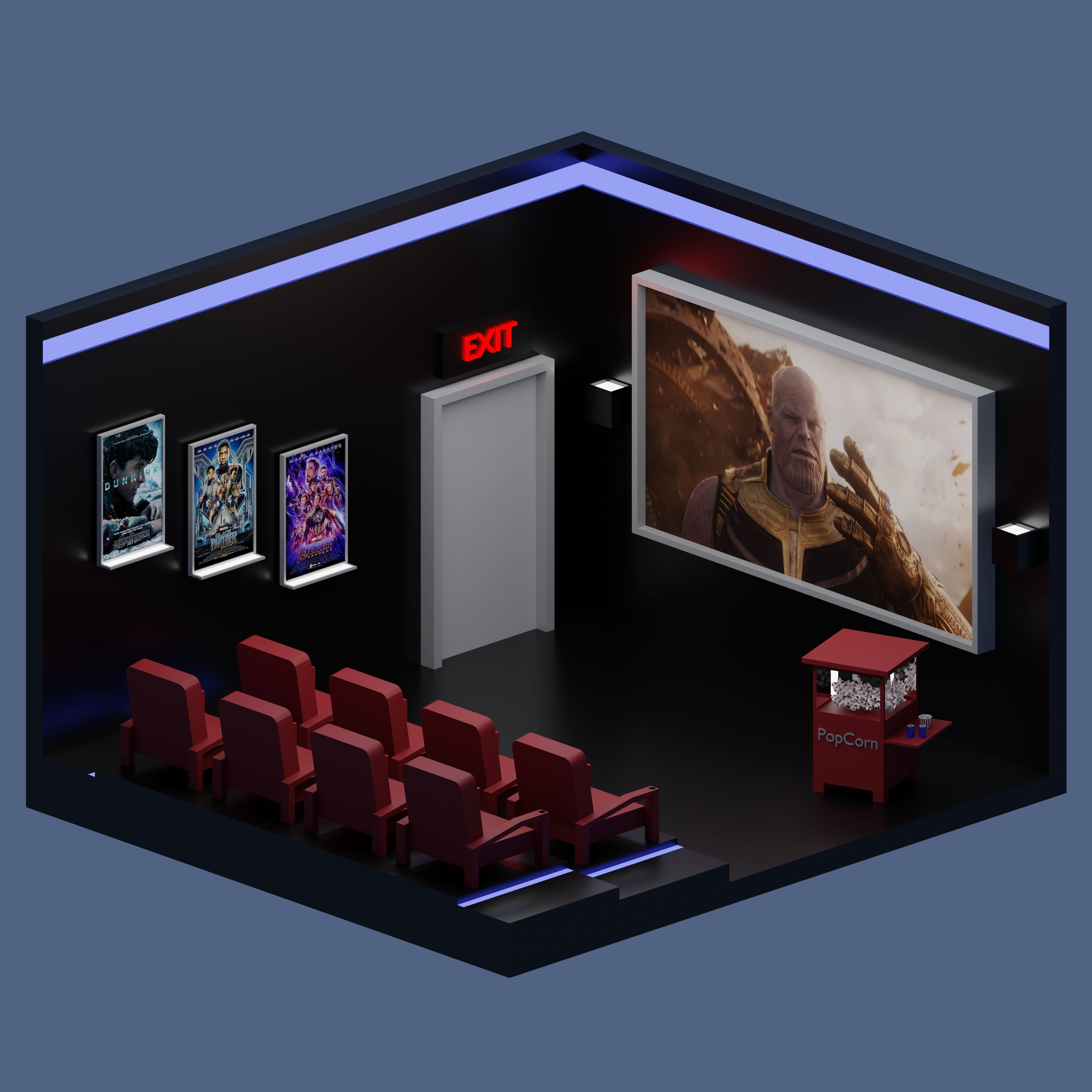 Low-Poly Movie Theater