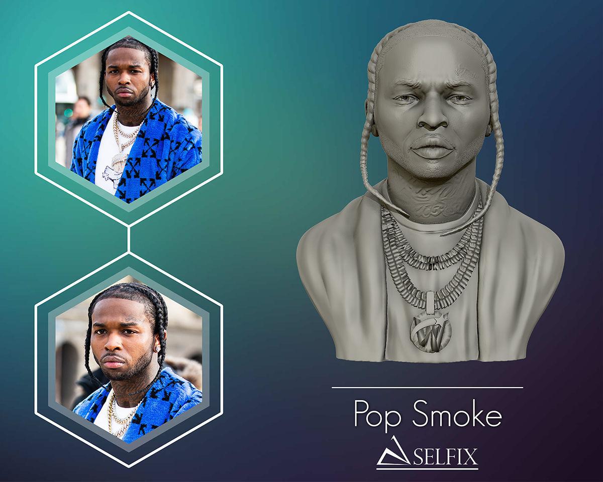 POP SMOKE 3D model portrait sculpture