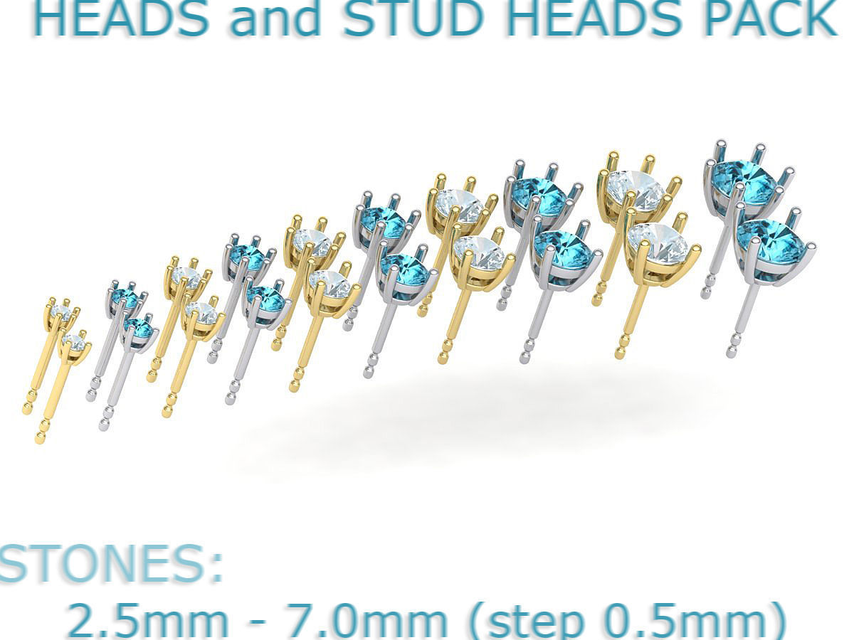 A PACKAGE OF HEADS and STUD EARRINGS many gems