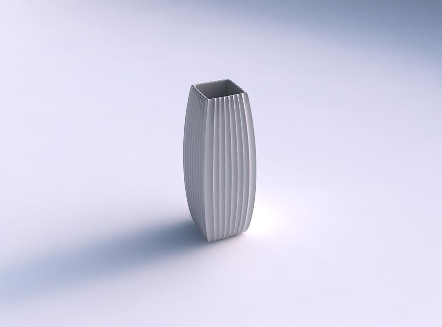 Vase rectangle with extruded vertical lines | 3D Print Model