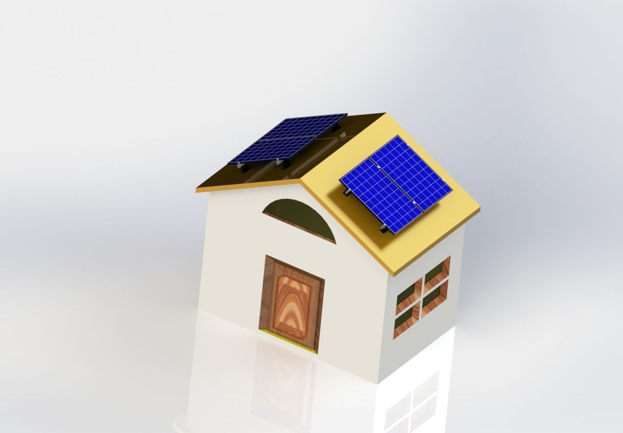 solar cells - rural house with solar cells