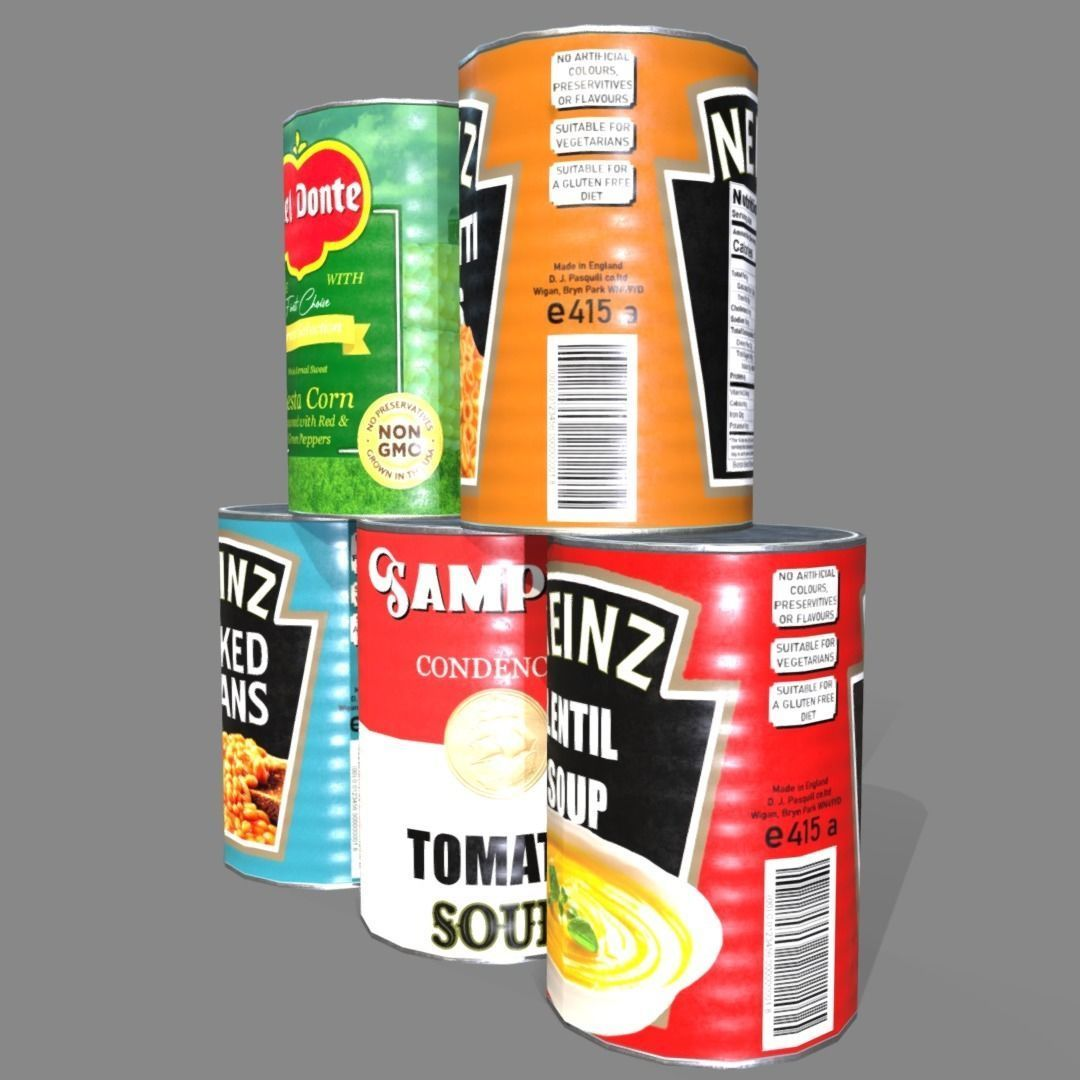 Low poly cans