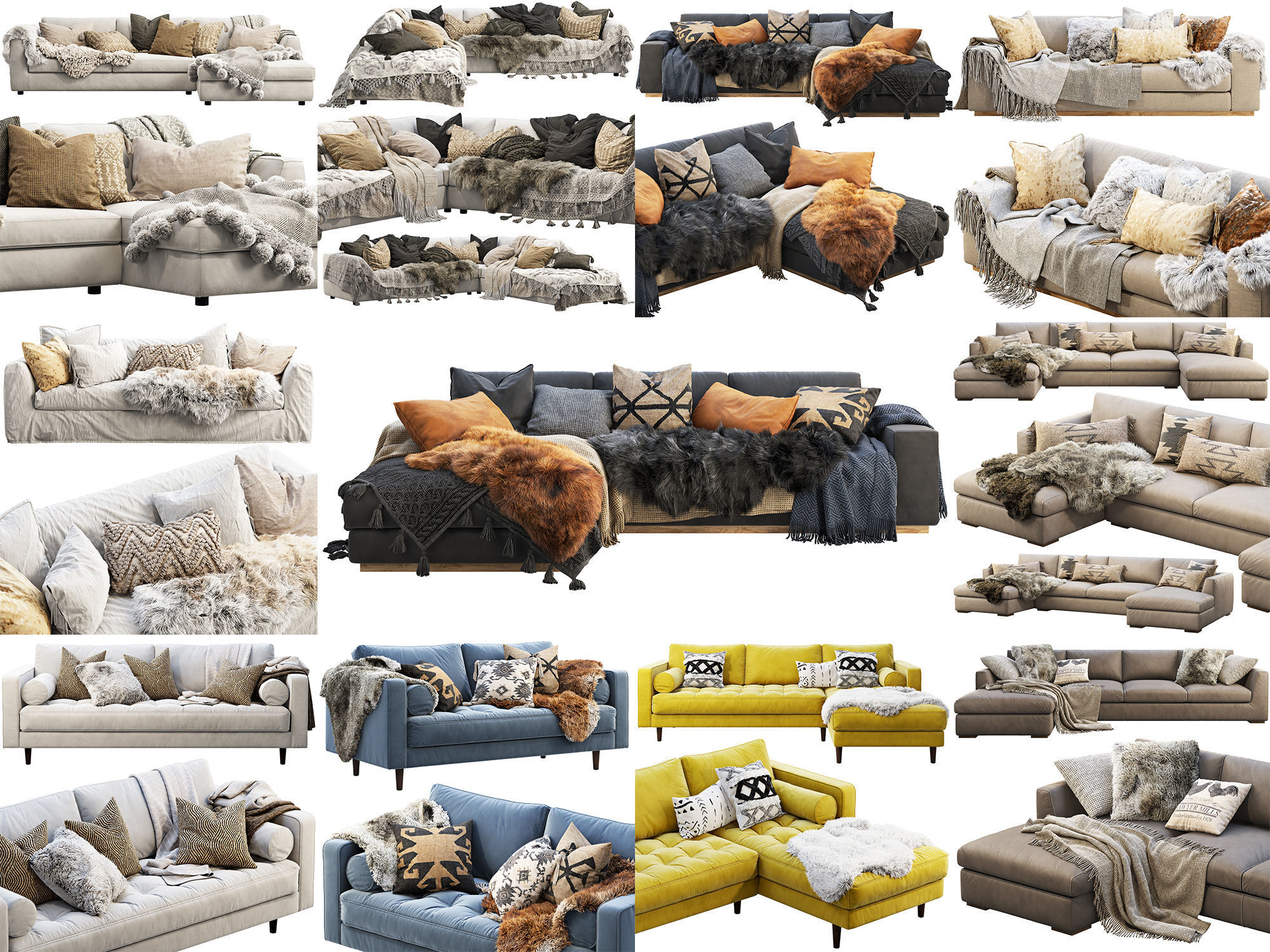 Scandinavian sofas collection x 10
