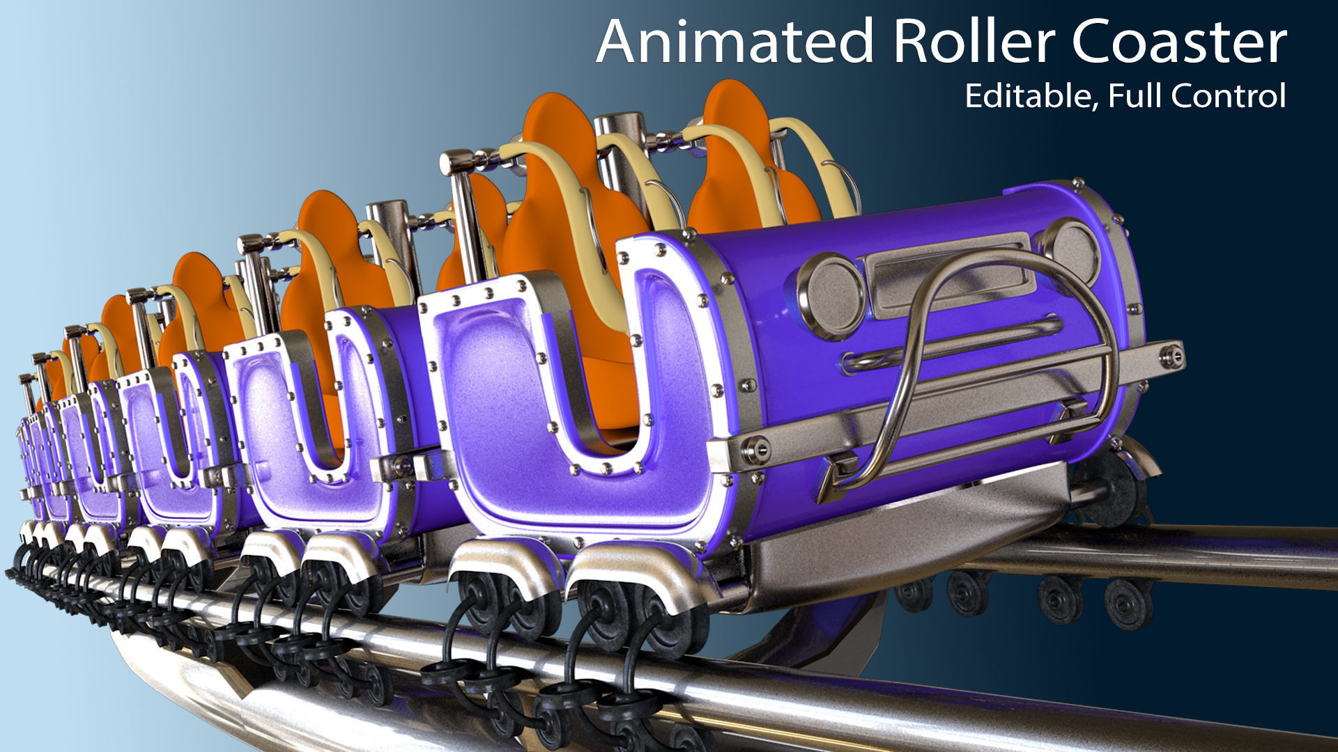3d Animated Roller Coaster Train