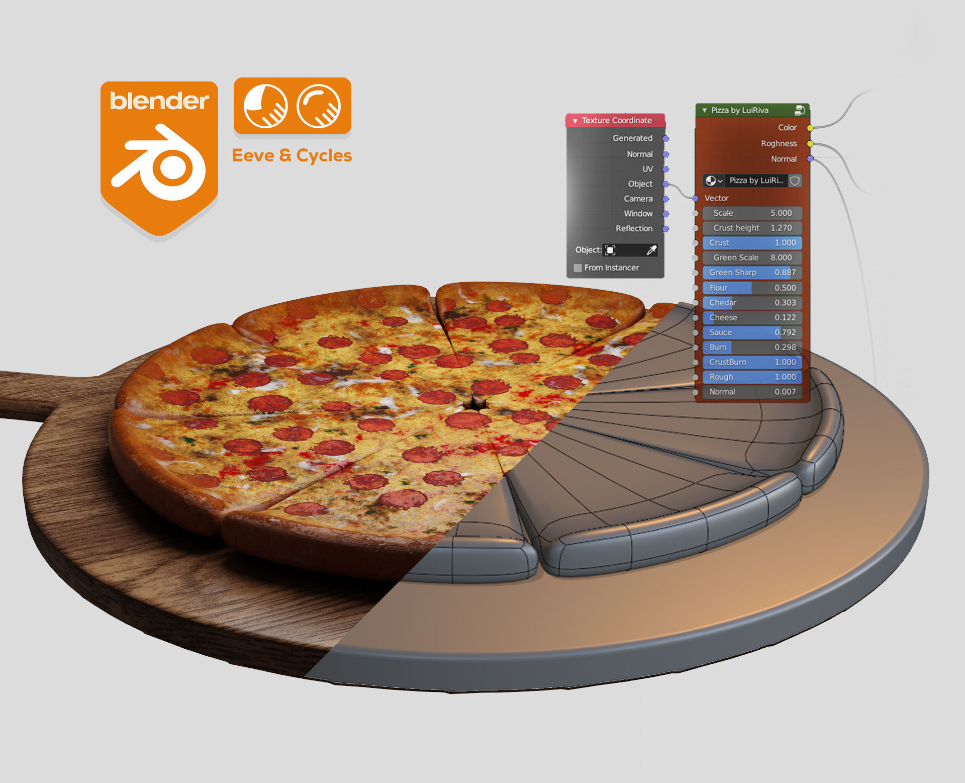 Pizza material Procedural and game ready model