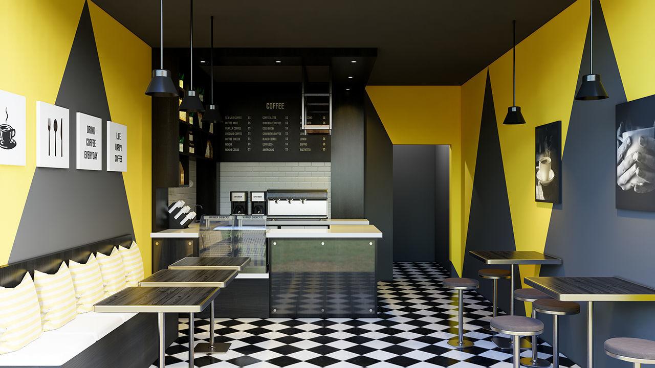 Mini Cafe Interior Scene