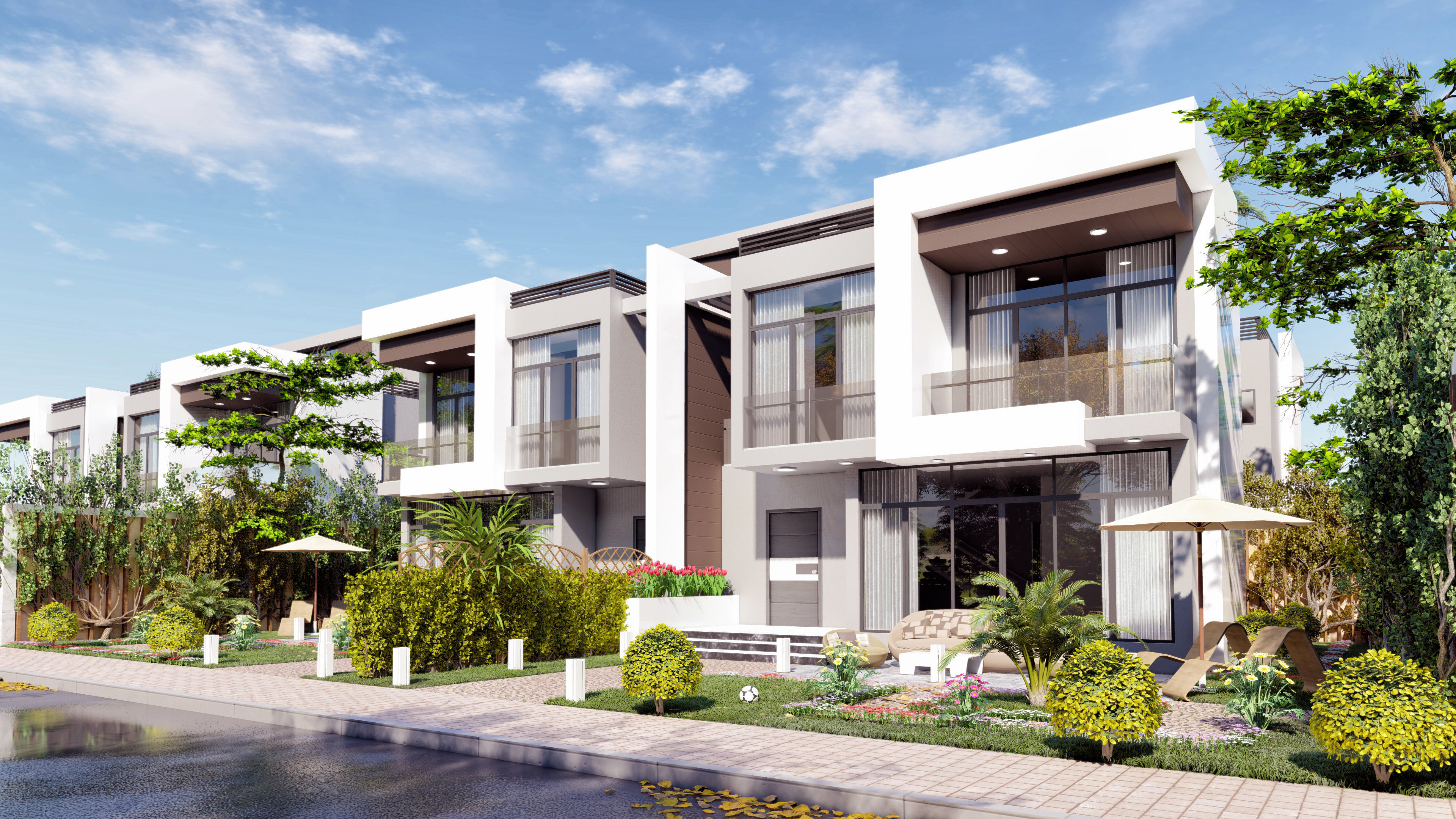 modern quadro 4 villas lumion and sketchup