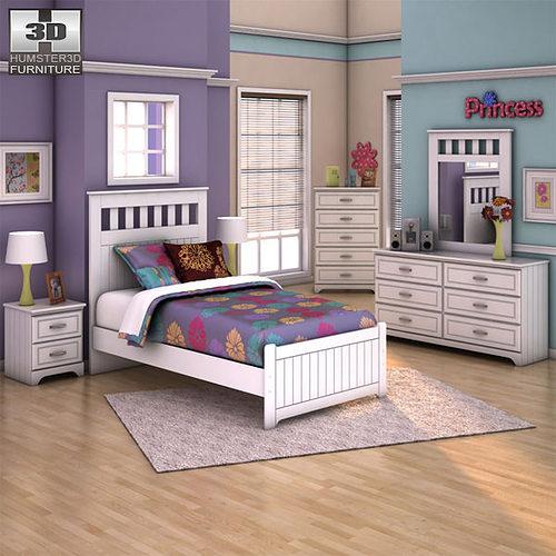 Ashley Lulu Panel Bedroom Set 3d Model Low Poly Max Obj 3ds Fbx C4d Lwo ...