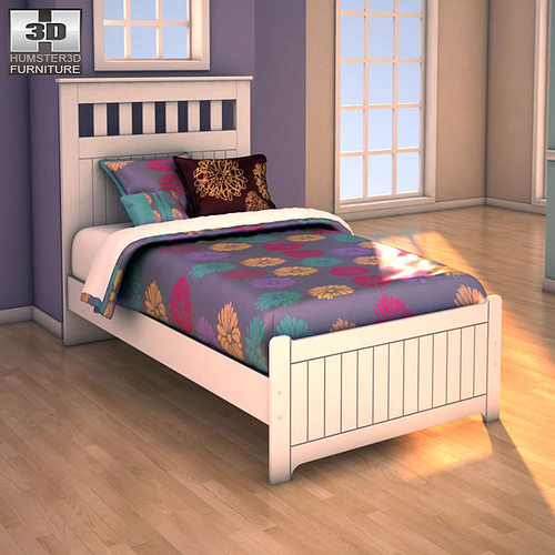 3D Model Ashley Lulu Twin Panel Bed VR / AR / Low-poly MAX