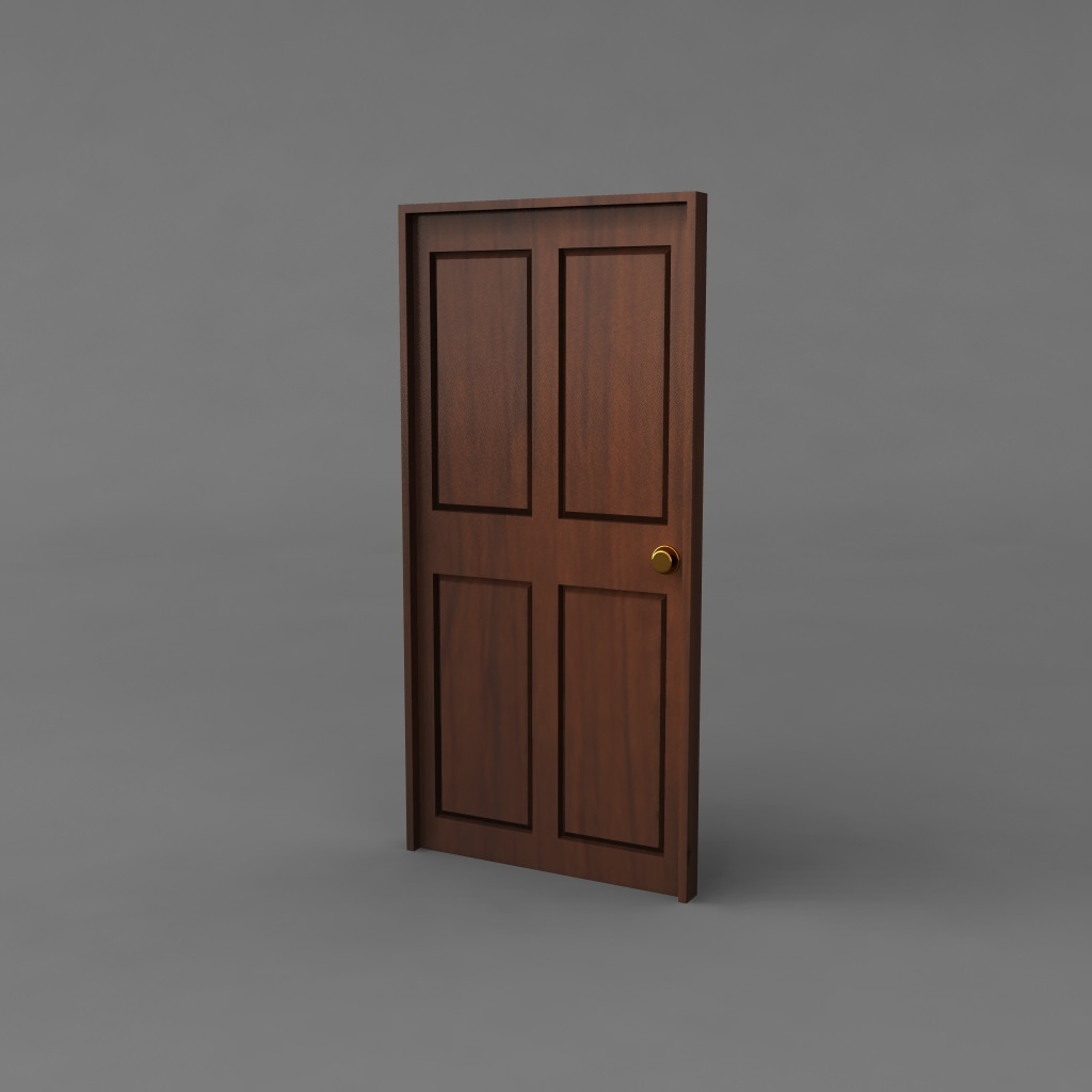 simple classic door 3d model obj ma mb mtl