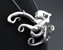 Polygon Octopus Pendant 3D printable model