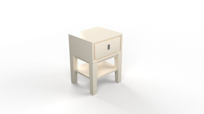 niche nightstand - white 3d model low-poly max 1