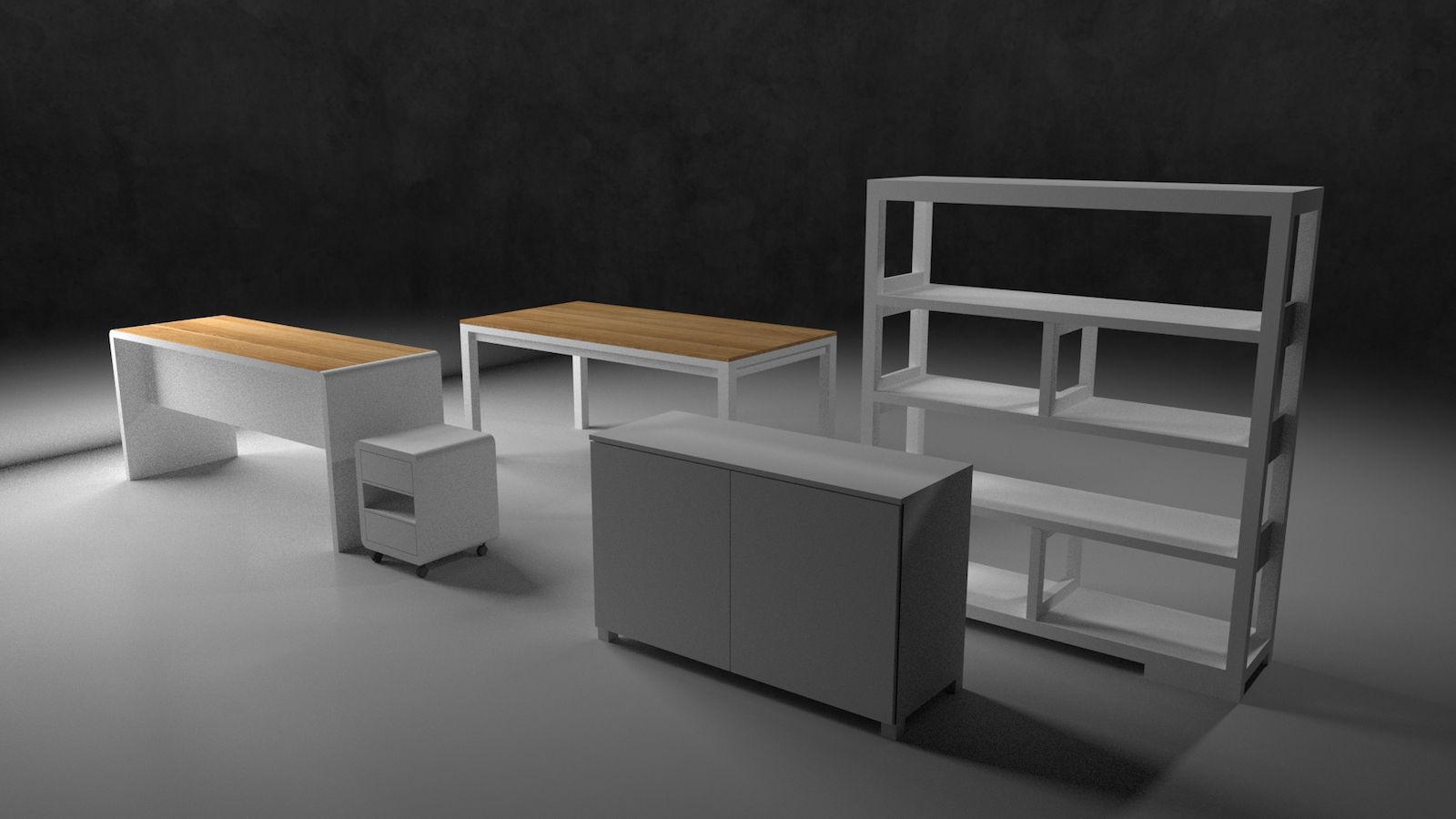 Office Furniture 2 Free 3d Model Skp
