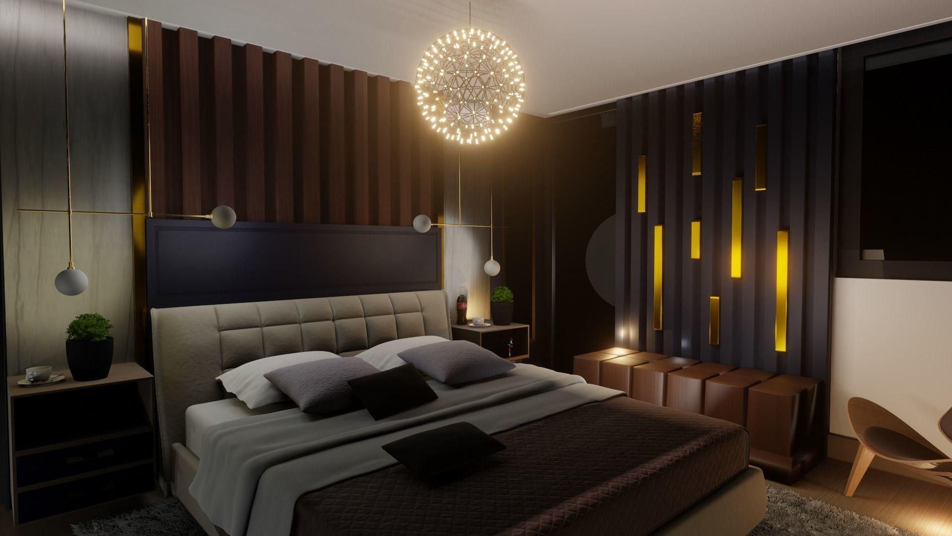 Interior 3d Model Modern Luxurious Bedroom Cgtrader