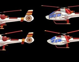 4 game-ready lowpoly helicopters realtime 3d asset
