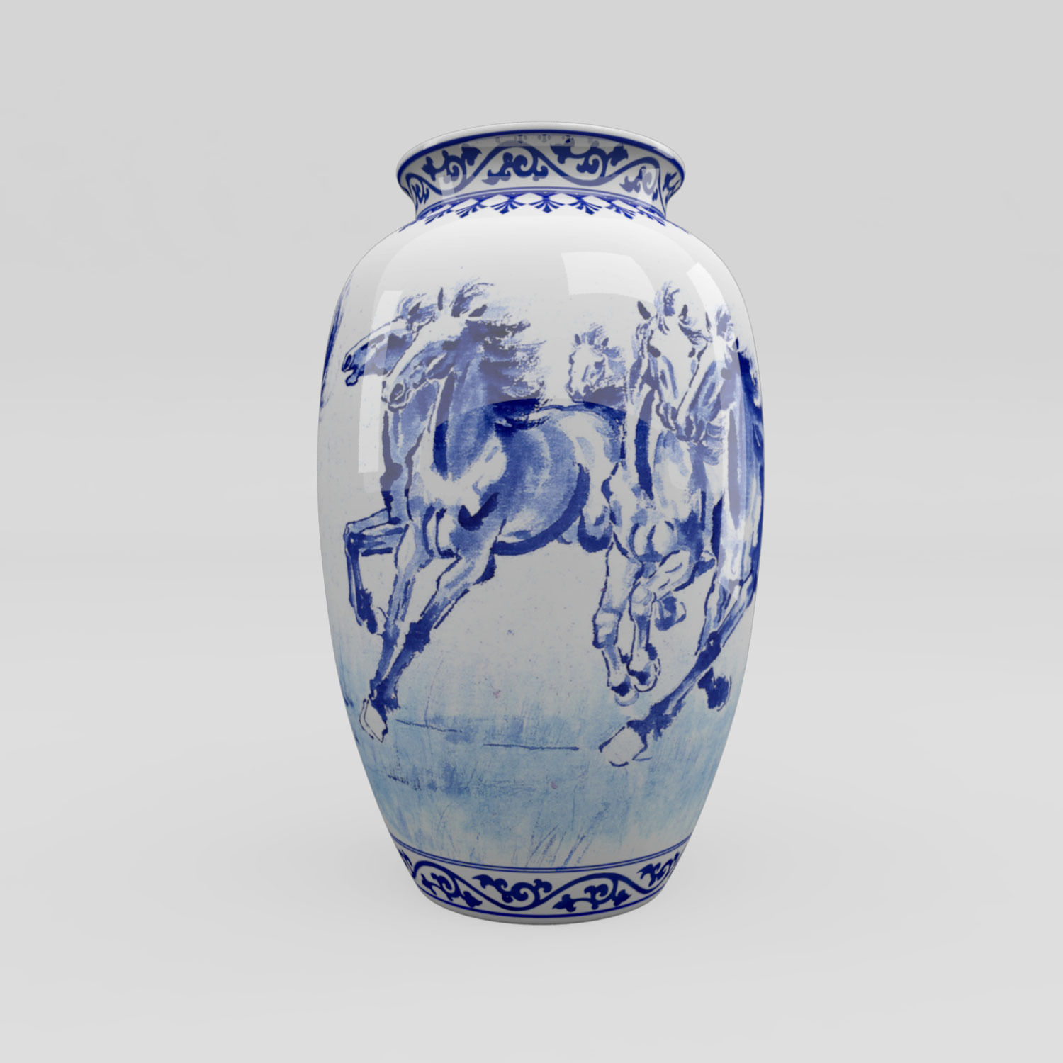 Chinese Blue And White Porcelain Vase Horses Model Max Obj Mtl Fbx C4d Ma
