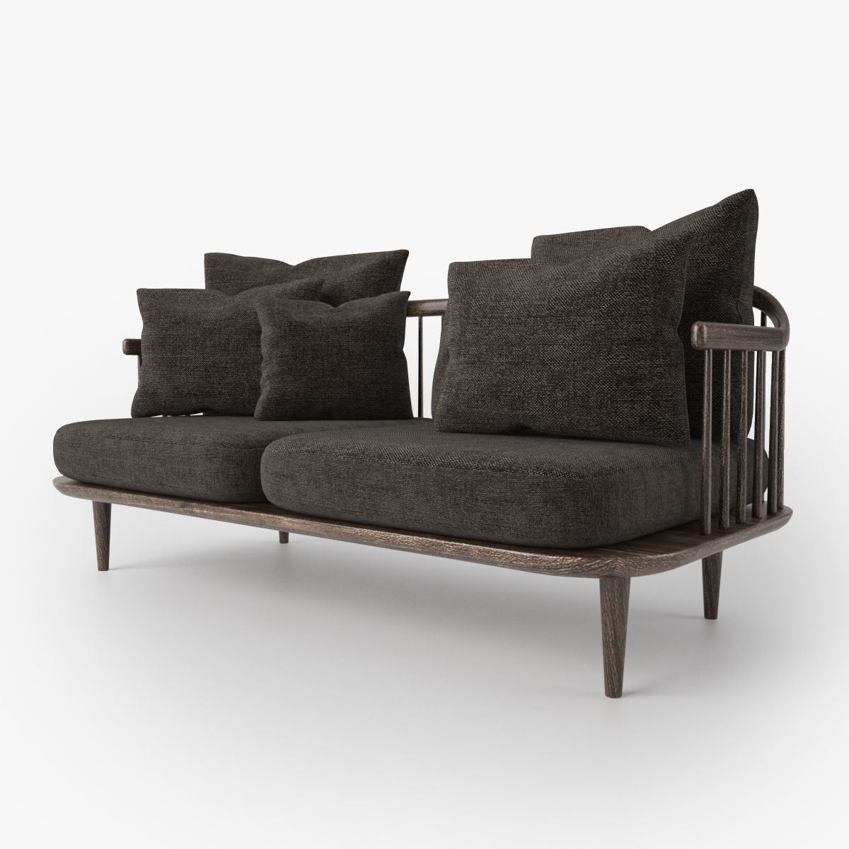 wooden sofa with fabric cushion free 3D model MAX