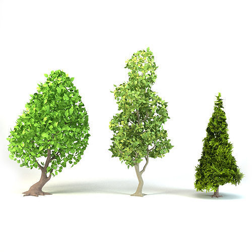 Cartoon Tree Pack Low-poly 3D model