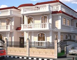 3D model villa cartoons exterior