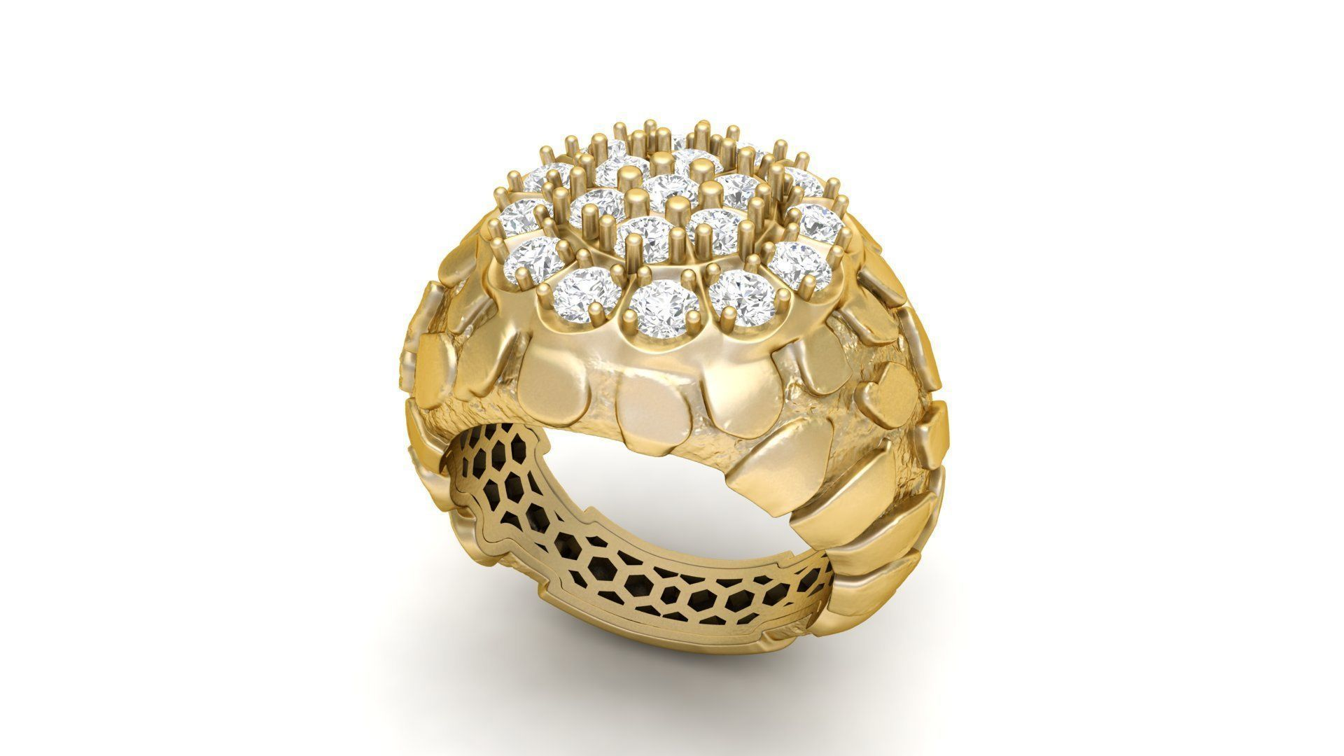 3D printable model Gents Diamond Nugget Ring 12